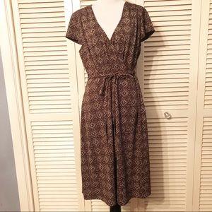 Loft | 🌺Brown Cap Sleeve Faux Wrap Dress